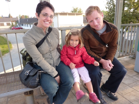 N, Chloe and I waiting at the train station.